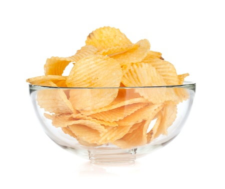 Potato chips in glass bowl. Isolated on white background Stock Photo - 18652543