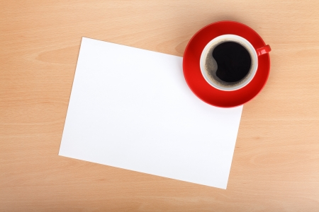Blank paper and red coffee cup on wood table Stock Photo - 18652673