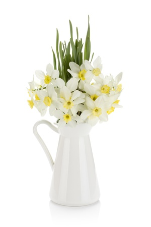 Bouquet of white daffodils in jug. Isolated on white background photo