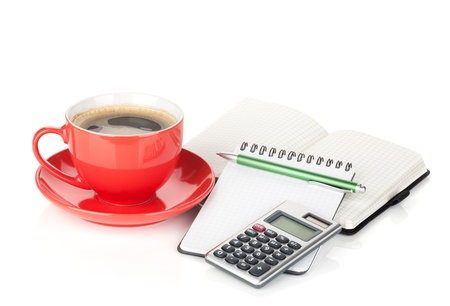 Coffee cup and office supplies. Isolated on white background photo