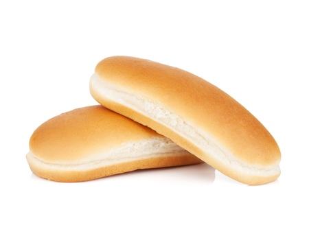 perro comiendo: Dos panes para perros calientes. Aislado sobre fondo blanco
