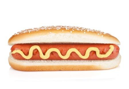 perro comiendo: Hot dog con mostaza. Aislado sobre fondo blanco