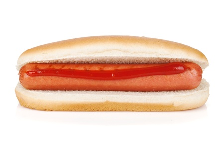 hot sauce: Hot dog with ketchup. Isolated on white background