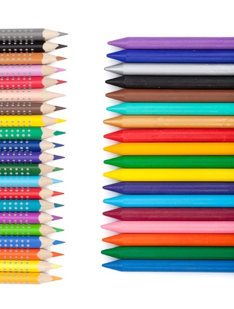 Various colorful pencils and markers. Isolated on white background Stock Photo - 19015314