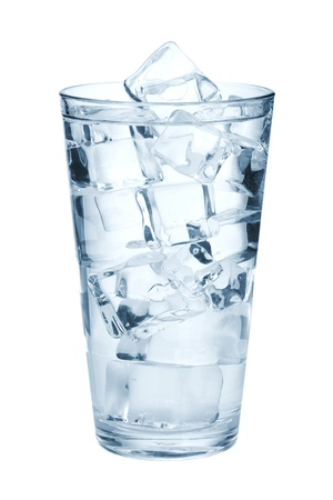 ice water: Glass of pure water with ice cubes. Isolated on white background