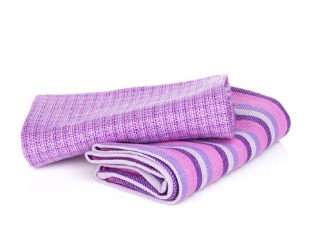 dishcloth: Kitchen towels. Isolated on white background Stock Photo