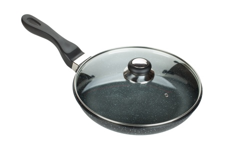 skillet: Frying pan with glass cover. Isolated on white background Stock Photo