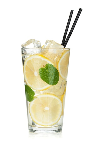 cocktail drinks: Glass of lemonade with lemon and mint. Isolated on white background
