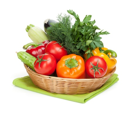Fresh ripe vegetables in basket. Isolated on white background Stock Photo - 19433152