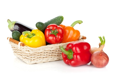 Fresh ripe vegetables. Isolated on white background photo