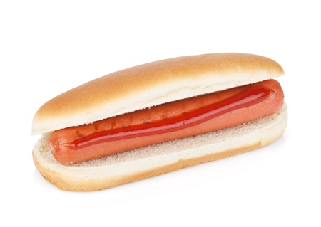 hotdog: Hot dog with ketchup. Isolated on white background