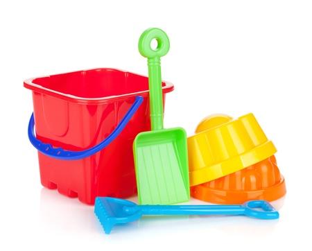 beach toys: Baby beach sand toys. Isolated on white background Stock Photo