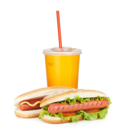 hotdog sandwiches: Fast food drink and two hot dogs with various ingredients. Isolated on white background Stock Photo