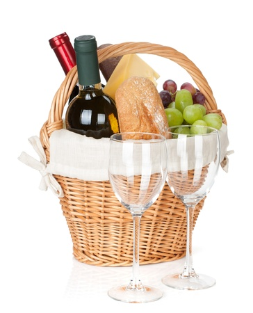 Picnic basket with bread, cheese, grape, wine bottles and two glasses. Isolated on white background Stock Photo - 20069006
