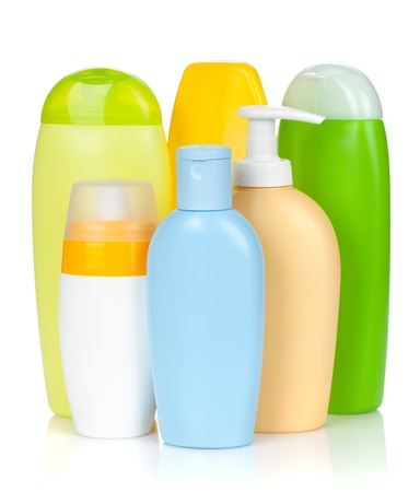 hair shampoo: Bath bottles. Isolated on white background