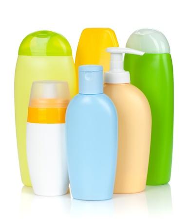 champú: Botellas de Bath. Aislado en el fondo blanco Foto de archivo