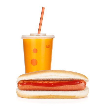 hotdog sandwiches: Fast food drink and hot dogs. Isolated on white background