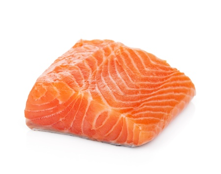 Salmon piece. Isolated on white background 免版税图像