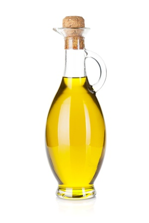 Olive oil bottle  Isolated on white background Imagens