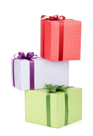 three gift boxes: Three gift boxes with ribbon and bow. Isolated on white background