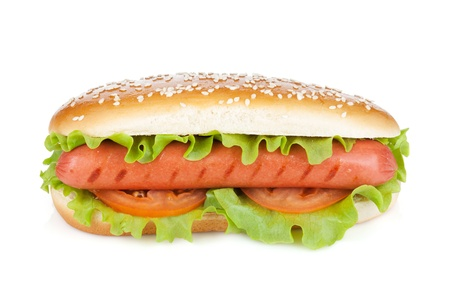 hotdog: Hot dog with lettuce and tomato slices. Isolated on white background Stock Photo