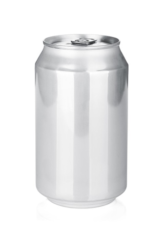 Aluminum beer or soda can. Isolated on white background photo