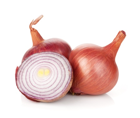 Fresh ripe red onion. Isolated on white background