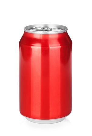 Aluminum red soda can. Isolated on white background photo