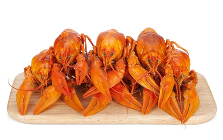 Boiled crayfishes on cutting board. Isolated on white background photo