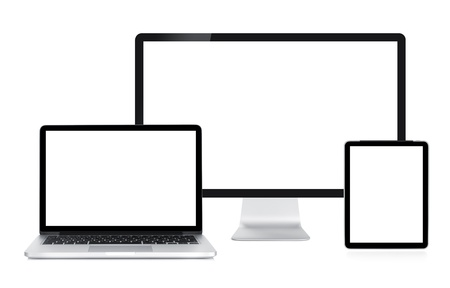 visual screen: Computer display, laptop and tablet. Front view. Isolated on white background