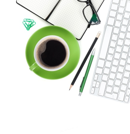 geen: Geen coffee cup and office supplies closeup