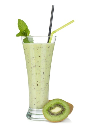 Kiwi milk smoothie with mint. Isolated on white background photo