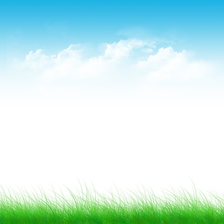 desktop wallpaper: Blue sky, clouds green field abstract background Stock Photo