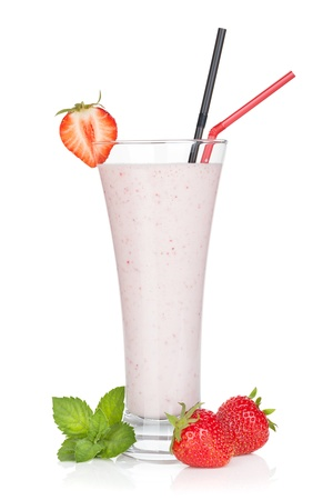 strawberry smoothie: Strawberry smoothie cocktail. Isolated on white background