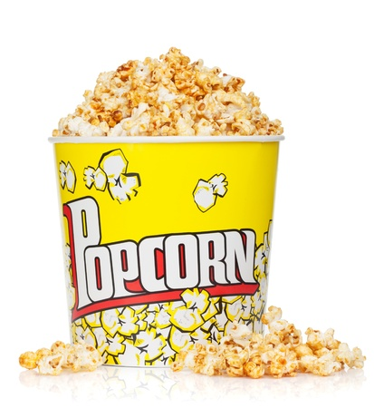 Popcorn box. Isolated on white background photo