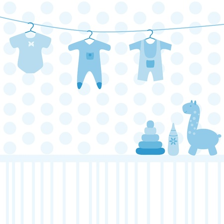 Baby various toys and clothing set Stock Vector - 21297218