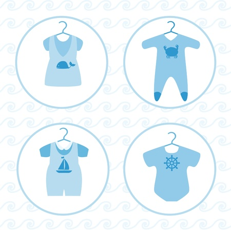 baby goods: Baby various clothing set Illustration