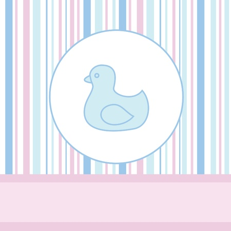 Baby rubber duck toy over pattern Vector