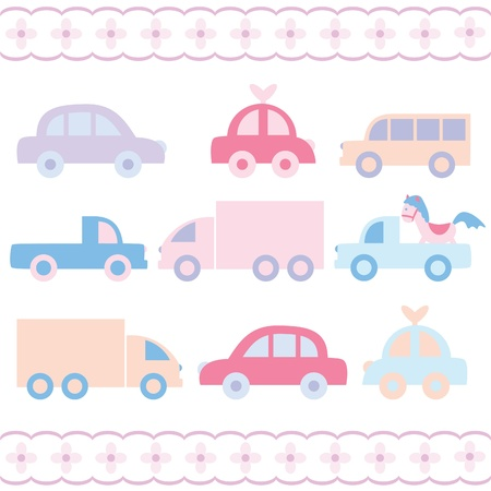 graphic design background: Baby car toys set