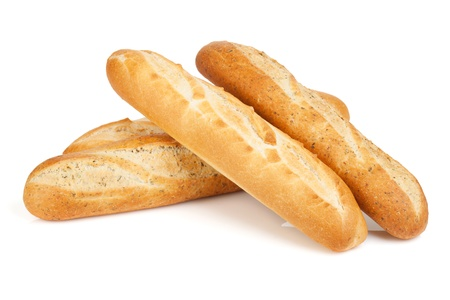 Various of french baguette. Isolated on white background Stock Photo