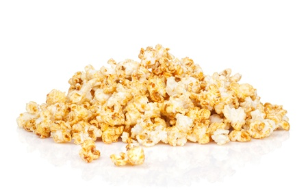 Popcorn heap. Isolated on white background photo