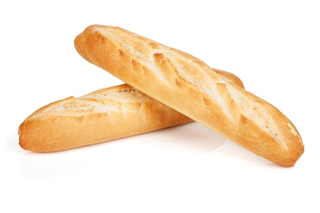 フランスのバゲット。白い背景に分離