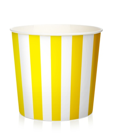 Empty popcorn box. Isolated on white background photo