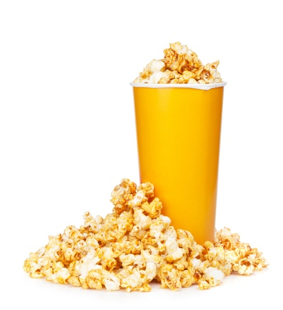 Popcorn in fast food drink cup. Isolated on white background