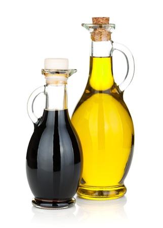 オリーブ オイルと酢のボトル分離した白い背景の上
