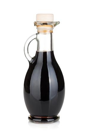 balsamic: Vinegar bottle  Isolated on white background Stock Photo