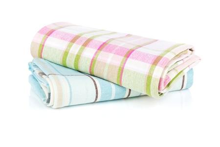 dishtowel: Kitchen towels. Isolated on white background Stock Photo