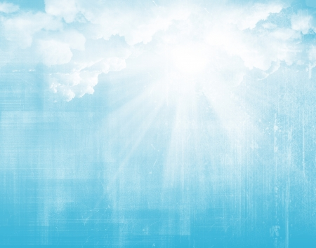 spiritual background: Sunlight, blue sky and clouds grunge background