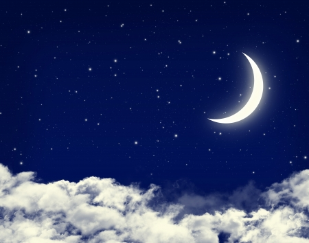 cloudy night sky: Moon and stars in a cloudy night blue sky background Stock Photo