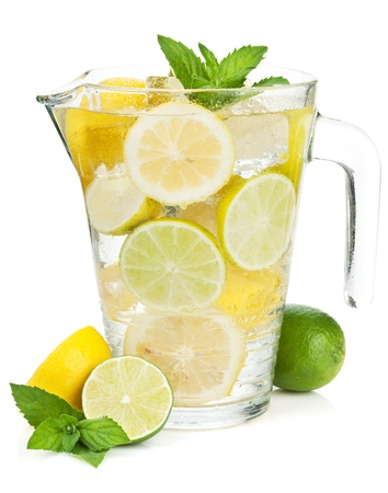 Homemade lemonade with citruses. Isolated on white background Stock Photo